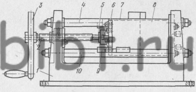 Рис. 49.  Однопозиционный кокильный станок с вертикальным разъемом и винтовым приводом.