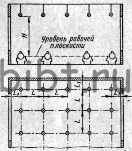 Схема размещения светильников