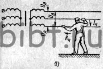 Схема пути электрического тока через человека при двухфазном прикосновении