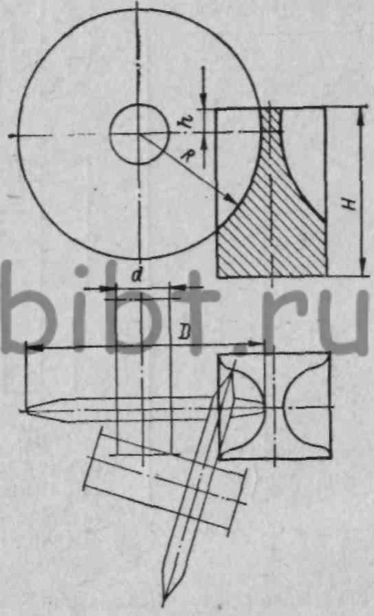 Обработка рабочего профиля пуансона на оптико-шлифовальном станке: d - диаметр оправки; D -диаметр шлифовального круга.