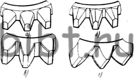 поверхностей зубьев