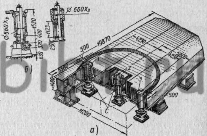 Схема стенда для сборни под сварку механически обработанных деталей поворотной платформы шагающего экскаватора...
