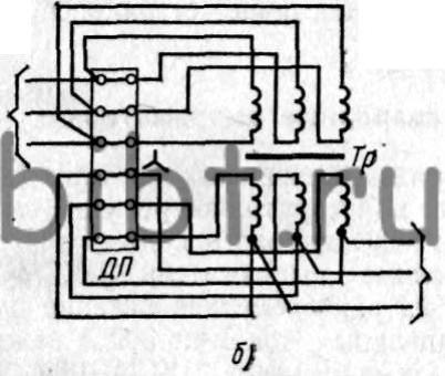 """а - соединение обмоток трансформатора  """"треугольником """" при сварке током большой величины, б - соединение обмоток..."""