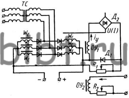 Принципиальная схема выпрямителя ИПР-120/600.  Вначале с ростом тока выходное напряжение источника падает и...