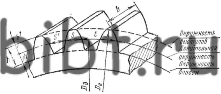 Основные элементы зубчатого колеса