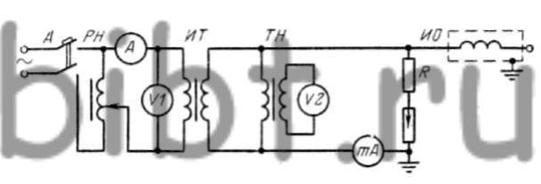 Принципиальная электрическая схема испытания изоляции электрических машин и трансформаторов повышенным переменным...