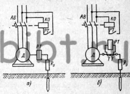 Принципиальные схемы защитного отключения на токе замыкания на землю. а - без трансформатора тока; б...