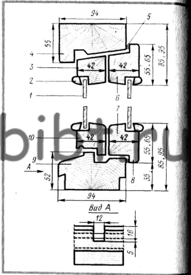 Оконные блоки со спаренными переплетами (сечения по притворам)
