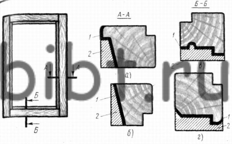 Рис. 116.  Схема обработки по периметру оконных створок спаренных переплетов. а - верхнего горизонтального и...